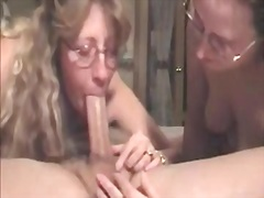 Double deepthroat video with two mature moms.