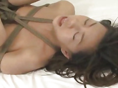 Japanese babe tied and deeply fucked bondage .