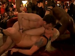 Party porn scene with tons of fucking around room.