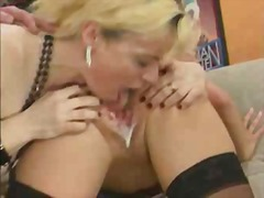 blonde licking a creampie pussy for some cash.