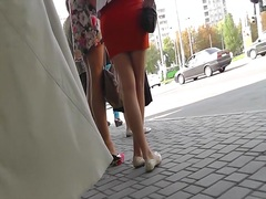 Street upskirt from sexy golden-haired.