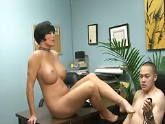 Eric jover is ordered by voluptuous shay fox to suck her sexy foot after lusty foot job.