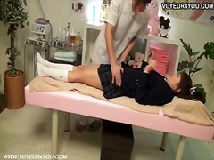 School student girl massage change room.