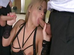 Hot and awesome whore colette w. having some fun with two guys.