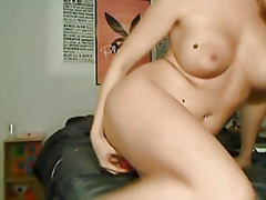 Busty and hot blonde masturbating on webcam.