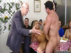 Horny blonde mistress bree olson fucked hard by hot peter north right on the table in front of his friends.