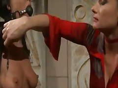 Brunette sweet babe chanel, gets tied up by her cruel blonde mistress as she whips and licks her.