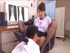 Lady doctor dominating her assistant watching jerking guy getting her pussy licked riding on guy on the floor in the surgery.
