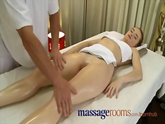 Massage rooms incredible young woman serviced then creampie.