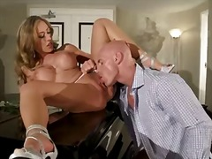 sexy sensational blonde babe enjoys giving steamy blowjob before her cunt is drilled hard and deep.