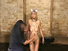 Humiliated slut emma louise crawling in the mud.