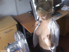 nice looking blonde and her fan in down blouse play.