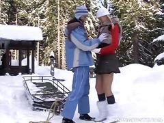 Busty lesbian yvone plays with a lesbian.