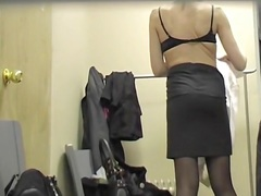Stockings and pantyhose girls in the changing room.