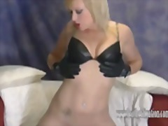 Let hot blonde axajay tease you in her leather fetish.