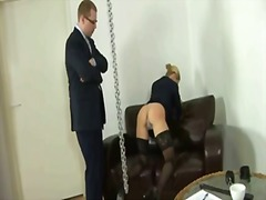 Spanking time for sexy blonde lady.