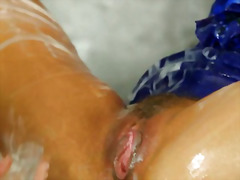 Pornstar babes at the gloryhole getting bukkake .