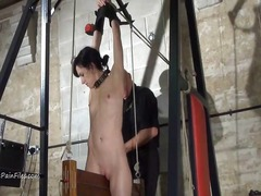 Extreme electro bdsm and wooden device bondage.