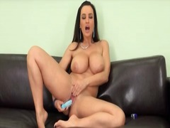 Lisa ann bangs her snatch with a dildo.