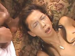 علامات: امناء الرجال على امرأة, إمناء على الوجه, آسيوى.