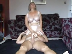 Blonde mature wife has 69 cowgirl and oral sex on floor.