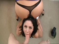 Mark wood uses his meaty dick to make blowjob addict madelyn monroe happy.