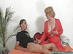 mother-in-law fucks him and wife comes in.