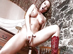Silvia saint gives a closeup of her vagina while masturbating with sex toy.