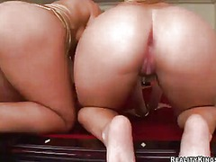 Blondes sarah vandella and alexis texas share the oustanding pocket rocket.