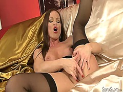 Silvia saint plays with herself on cam.