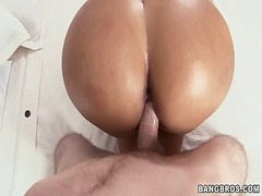 Latina with big fat oiled up butt gets her twat banged.