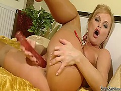 Silvia saint shows it all in a playful manner.
